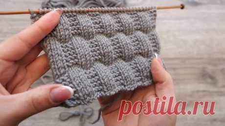 Рельефный узор спицами из лицевых и изнаночных 💝 Knit and Purl Stitch Pattern