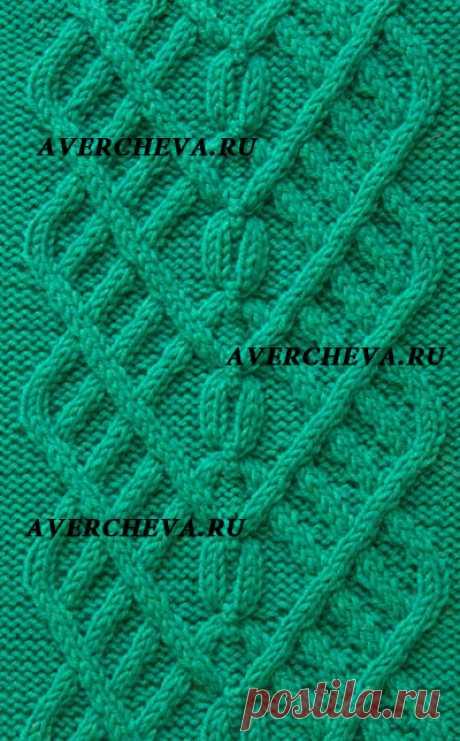 Узор спицами 929 « Коса 44 петли» | каталог вязаных спицами узоров