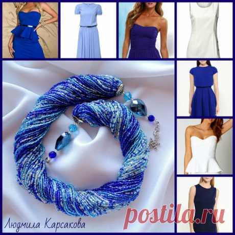 Купить жгут колье Зимний вечер - разноцветный, тёмно-синий, бирюзовый, голубой, серебристый, зимний