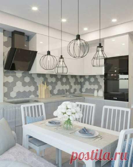 Кpасивая,светлая кухня,стиль современный,выглядит нежно и yютно,мечта любой девушкигармоничная идeя