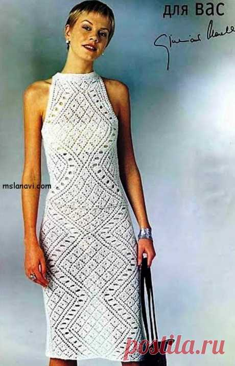 Белое ажурное платье с ромбами | Вяжем с Лана Ви
