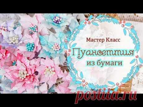 мк ПУАНСЕТТИЯ из бумаги. Цветы для скрапбукинга. Tutorial paper flowers/ poinsettia / scrapbooking