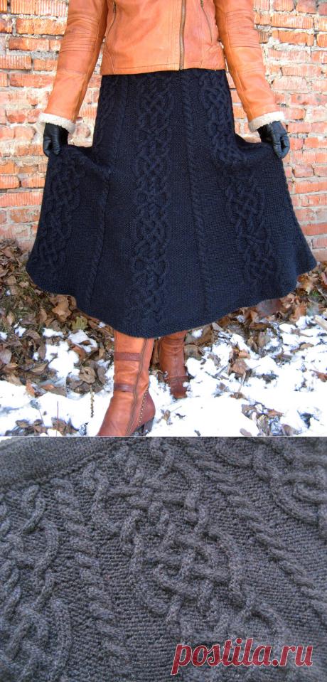 Длинная черная юбка на зиму: подробности. (И про каталог узоров для вязания спицами) | Милые вязаности | Яндекс Дзен