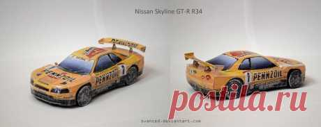 Nissan Skyline GT-R R34 Papercraft + DOWNLOAD Made by French designer PH3D. Scale 1/24. Kinda nice ride,right? Difficulty level: Easy Download link: ph3dm.maquettes-papier.net/ind… (no,it's not a Silvia S15,you can google and compare im...