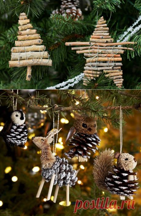 """Новогодние игрушки из веток и шишек своими руками - Журнал """"Сам себе изобретатель"""""""