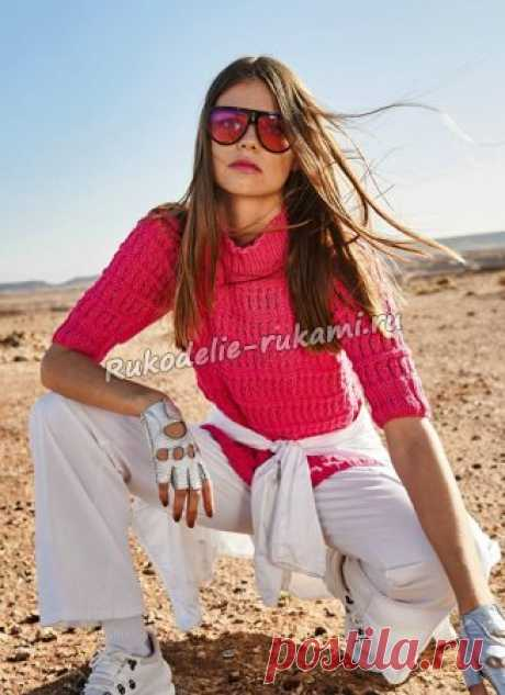 Розовый пуловер с рукавами три четверти