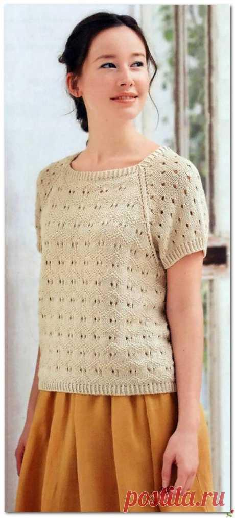 Пуловер реглан с коротким рукавом — HandMade