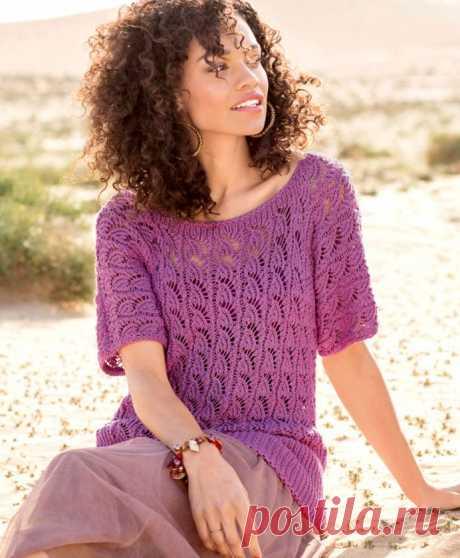 Ажурный джемпер цвета фиалки - Вязаные модели спицами для женщин
