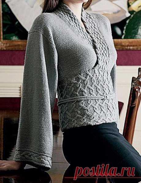 Пуловер кимоно спицами, бесплатное описание пуловера кимоно, схема пуловера