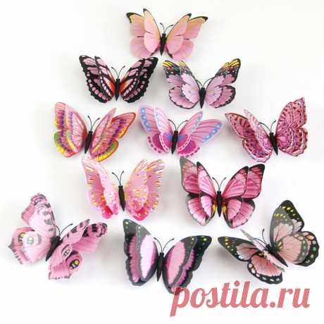 221.33руб. 64% СКИДКА 12 шт./компл. многоцветные двухслойные 3D бабочки с крыльями, настенные наклейки, декор для комнаты, ПВХ бабочки, магнитные наклейки на холодильник Наклейки на стену      АлиЭкспресс Покупай умнее, живи веселее! Aliexpress.com