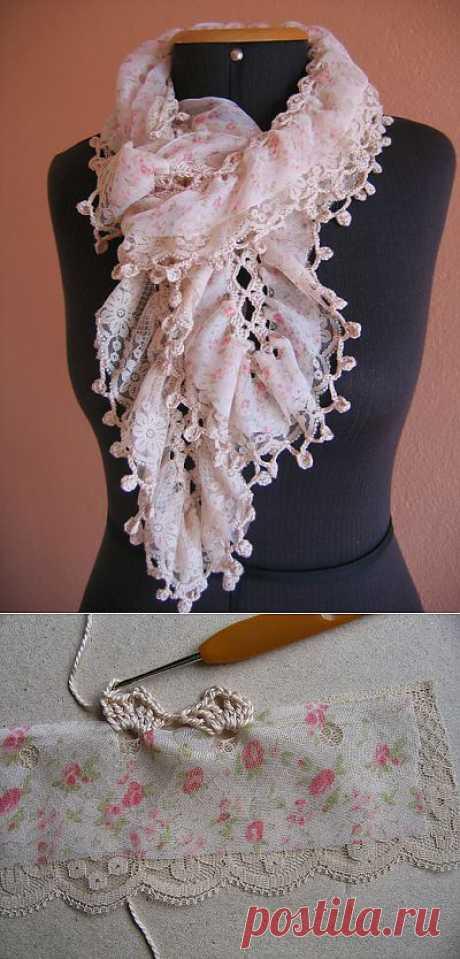 Декор шарфа кружевами .