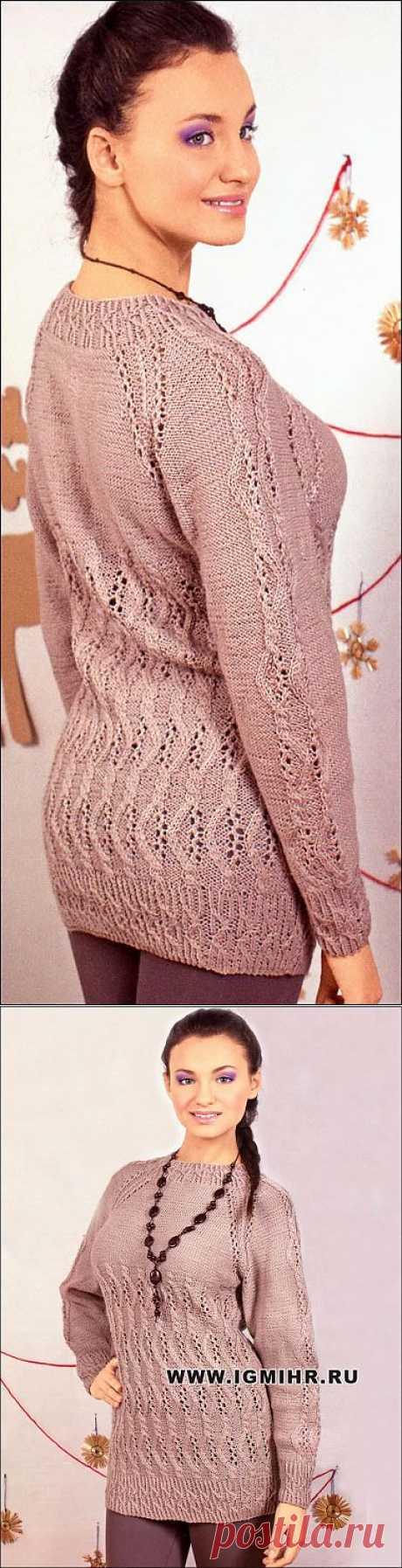 Женственный бежевый пуловер с ажурными узорами. Спицы