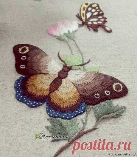 Вышивка гладью «Бабочка»