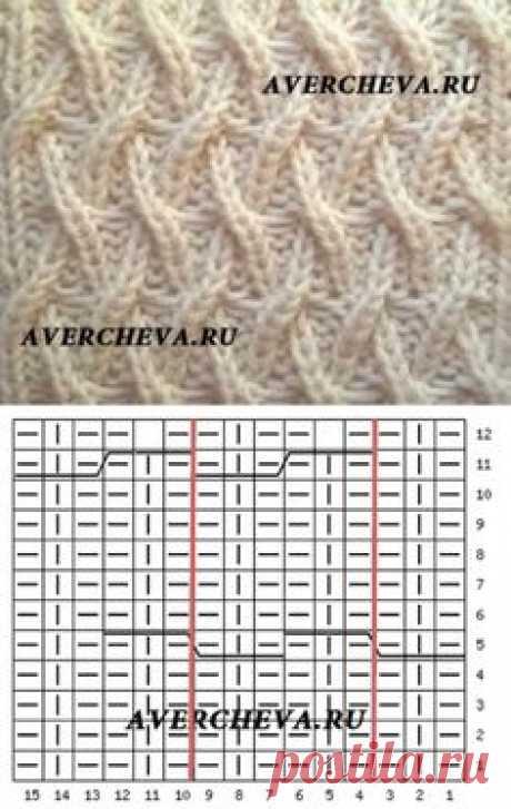 Узор спицами 972 «Необычная плетенка 2» |  каталог вязаных спицами узоров
