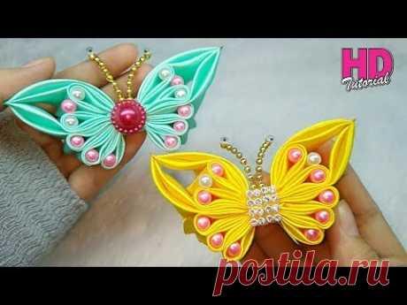 DIY || bros kupu-kupu part 2 || || Butterfly || how to make satin ribbon flower || HD TUTORIAL