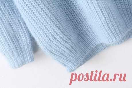 Синий высокий воротник с длинным рукавом вязать свитер - abaday.com