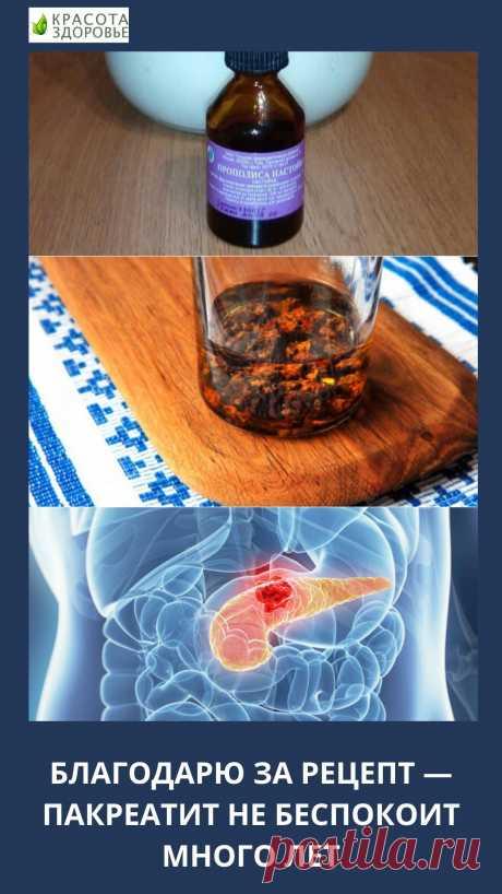 Благодарю за рецепт — пакреатит не беспокоит много лет Рецепт лечения панкреатита настойкой прополиса