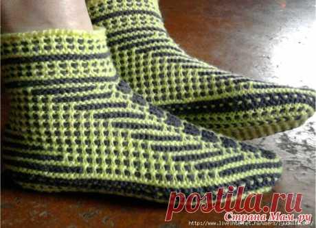 Подследники-тапочки-носки на двух спицах
