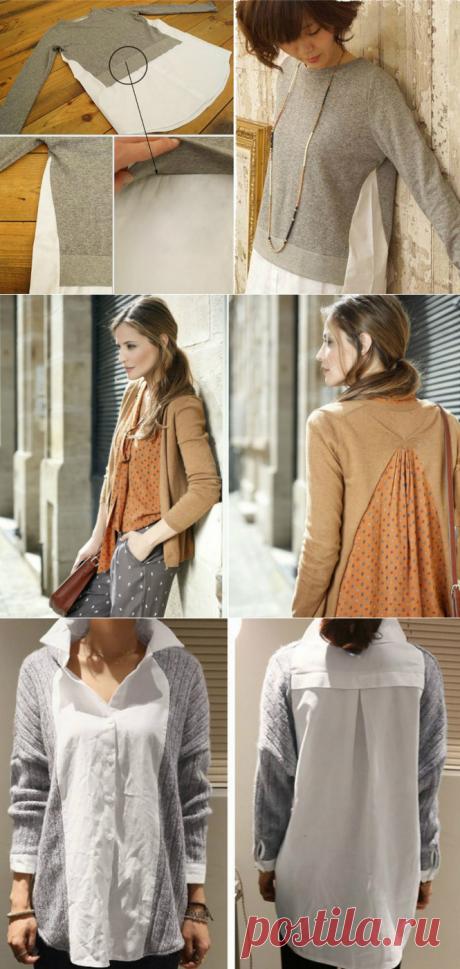 Свитера, футболки, рубашки — режем, комбинируем, шьем! Переделка свитера: пара надрезов на старом свитере — неповторимый наряд готов!