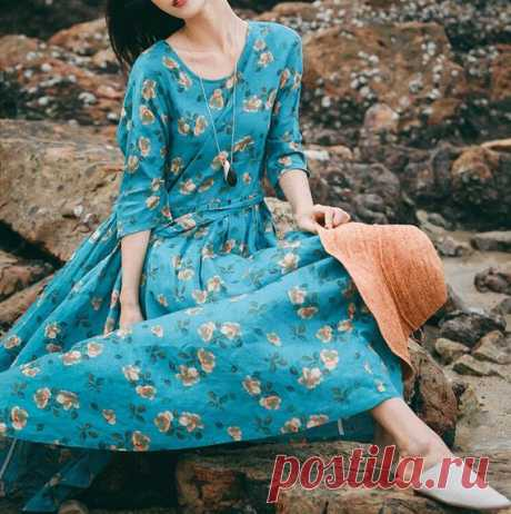 Maxi dress in green blue Long Linen dress Women's long | Etsy