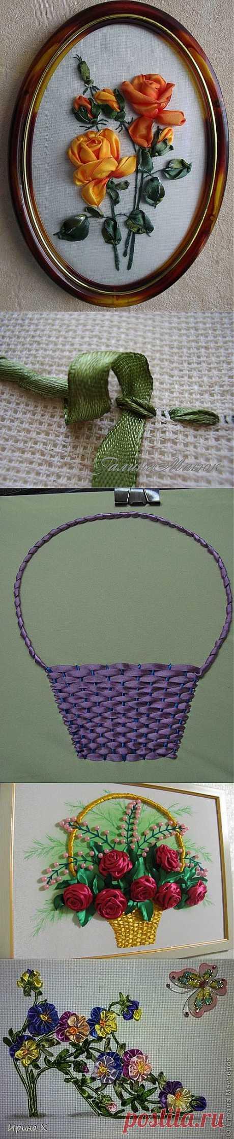 Вышивка лентами: мастер-класс по простым и обвитым наметочным стежкам