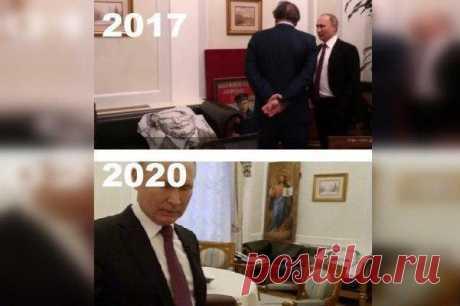 В Кремле объяснили, что за портрет Путина уже три года лежит в его кабинете на диване Пресс-секретарь президента Дмитрий Песков сообщил радиостанции «Говорит Москва», что это подарок из Японии.