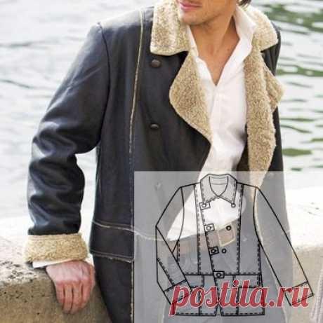 Куртка- дубленка. #Готовые_выкройки на мужские размеры 48-56. Длина по спинке ок. 80 см. Важно: у этой модели срезы не обметываются, а швы выполняются наружу. #шьем_для_мужчин