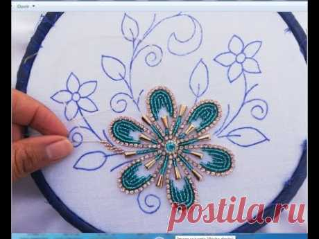 Hand embroidery,hand embroidery design with brad pearls
