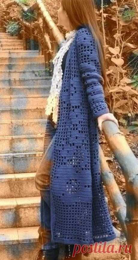 Филейный кардиган крючком. Схемы. / knittingideas.ru