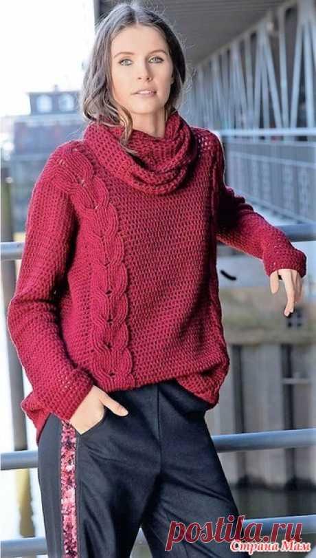 """Модные тенденции. Пуловер винно-красного цвета с """"косами"""" и снуд. - Все в ажуре... (вязание крючком) - Страна Мам"""