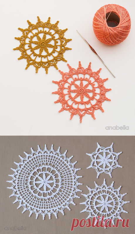 Anabelia craft design: Shabby decoration for Christmas, 3 crochet doilies in 1 pattern