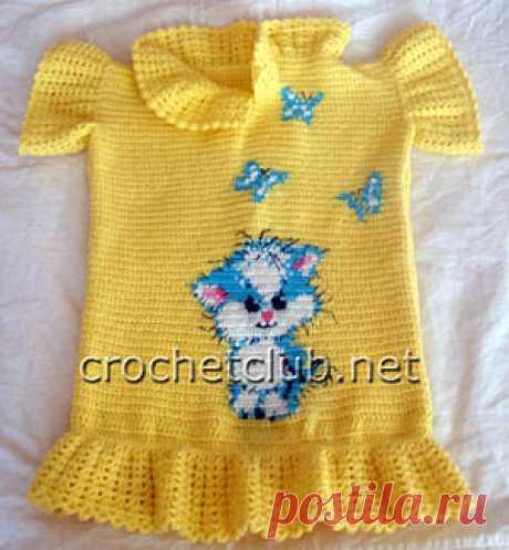 Вязаное платье-туника «Котик» Детское платье-туника, связанное крючком