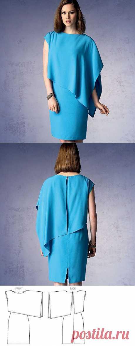 Платье с асимметричной накидкой из Vogue. Тех. рисунок.
