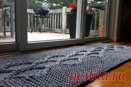Коврик спицами, 15 моделей с описанием и видео уроками по вязанию, Вязание для дома