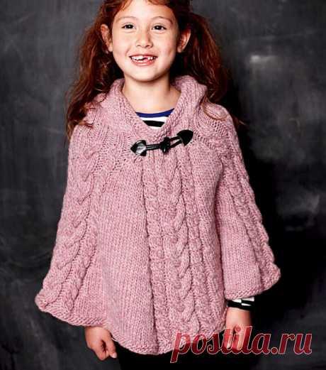 Пончо с капюшоном для девочки (Вязание спицами) – Журнал Вдохновение Рукодельницы