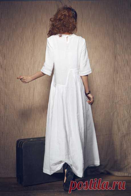 Flash Sale White Dress Maxi Linen Dress Wedding Maxi Linen