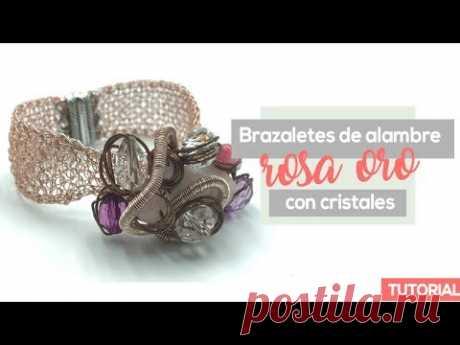 Brazalete De Alambre Oro Rosa Tejido A Crochet En Punto Peruano