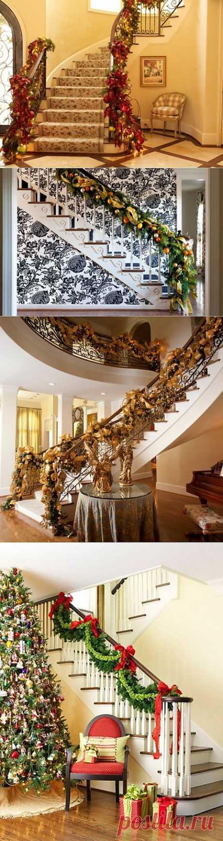 Дизайн интерьера. Потрясающие идеи украшения лестниц к Рождеству.