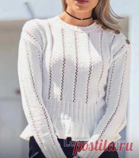 Укороченный пуловер с баской схема спицами