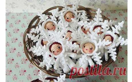 Вязаные куколки-снежинки Вязаные крючком куколки-снежинки. Схема