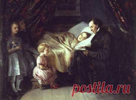 На картине датской художницы Элизабет Анны-Марии Джерихау-Бауманн 👆Андерсен читает сказки её детям. Писателю тогда было 57 лет. Он был другом семьи художницы. Полное название картины звучит так: «Ганс Христиан Андерсен читает сказку «Ангел» для моей дочери Луизы, которая больна, и других детей».