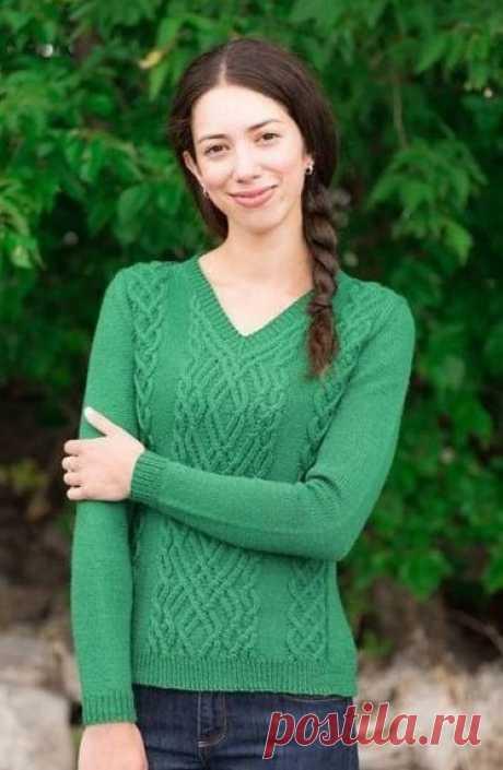 Пуловер с аранами схемы. Пуловер с V-образным вырезом спицами  