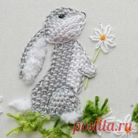 Как вышить кролика декоративными швами