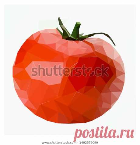 Red Tomato in Low Poly Style
