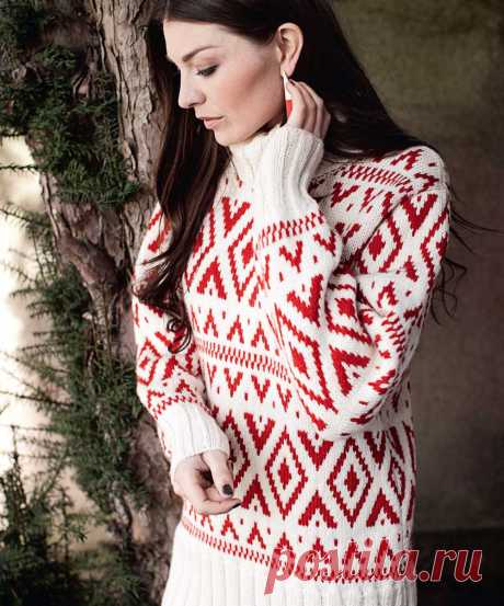 Женский свитер с графическим узором - схема вязания спицами. Вяжем Свитеры на Verena.ru