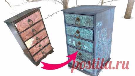 Вторая жизнь старой мебели! Переделка! 4 видео МК!   Творческая студия TAIR   Яндекс Дзен