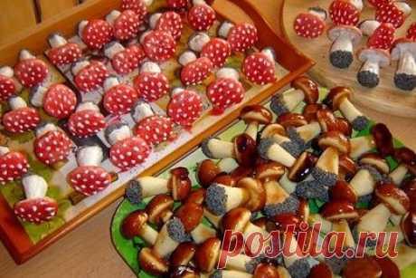 Печенье Белые грибочки и Мухоморы - Печенье