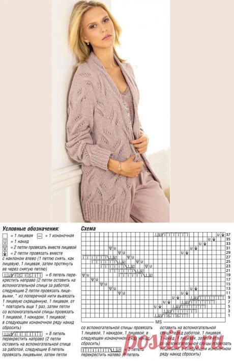 Кардиган с узором из «кос» без застежки - Вязаные модели спицами для женщин