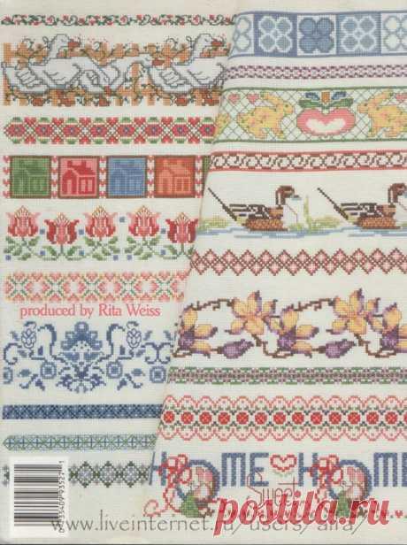 Вышивка крестом, схемы Бордюры, буклет Sam Hawkins Borders 3527