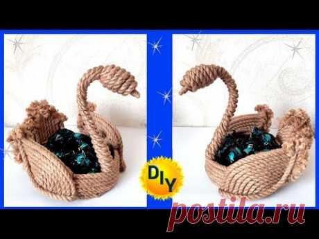 Как сделать конфетницу лебедь из джута и веревки. DIY/рукоделие.